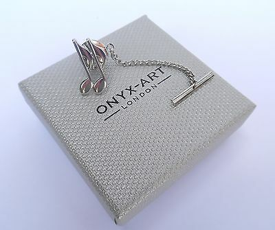 """MUSICIAN'S GIFT-""""QUAVER NOTES"""" METAL Silver Style TIE PIN in a GIFT BOX-NEW"""