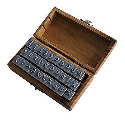 Wooden Design Lowercase Alphabet Symbols Stamp Set Brown AD