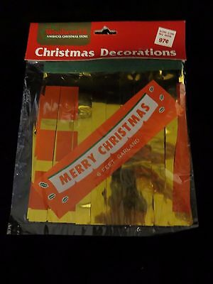 "Vtg ""MERRY CHRISTMAS"" 6' Foil Garland Decoration - FW Woolworth - New in Package"