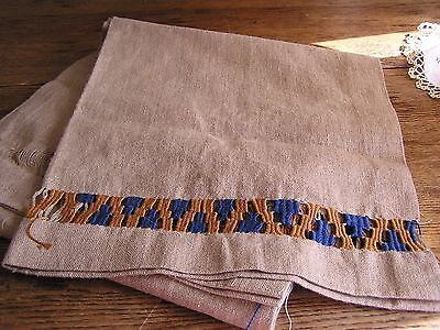 Large, Heavy Linen Unfinished Arts & Crafts, Stickly Era Table Runner--Fabulous