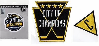 "2017 Stadium Series Pittsburgh Penguins Patch Set Of 3 ""city Of Champions"""