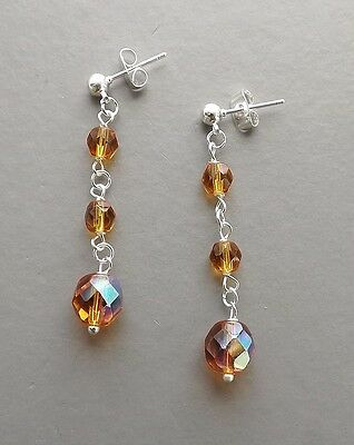 Amber glass crystal auora drop earrings .. faceted Czech bead AB prom jewellery