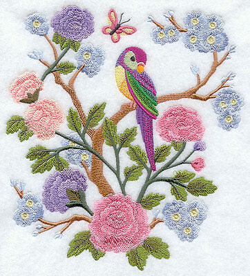 Embroidered Chinoiserie birds & flowers quilt block,sewing fabric,cushion panel,