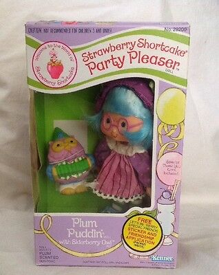 Vintage Strawberry Shortcake Plum Puddin Party Pleaser Doll & Pet In Box Kenner