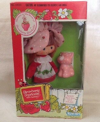 Vintage Strawberry Shortcake Herself Doll and Custard Cat In Sealed Box Kenner