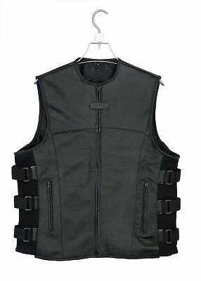 Men's SWAT Motorcycle Biker Leather vest with two concealed gun pockets