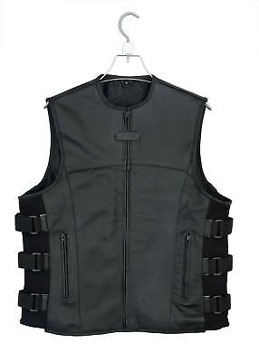 Men's SWAT motorcycle Leather vest with two concealed gun pockets - SAME DAY Shp