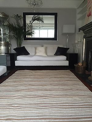 Designer Italian Company Missoni Wool Jute Stripe Large Neutral Custom Floor Rug