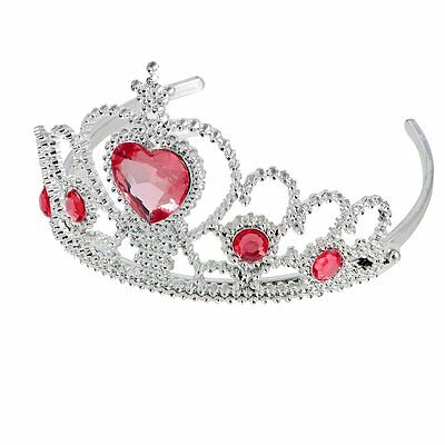 Woman Party Crown Plastic Red Heart Round Rhinestone Headband Hair Band AD