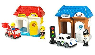 Little Tikes Tikeland Fire and Police Station X2 (BOTH) NEW
