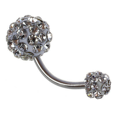 Ball Navel Belly Button Rhinestone Crystal Ring Stainless Steel Piercing AD