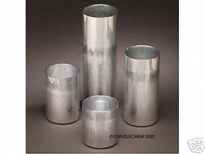 ROUND PILLAR Seamless Aluminum Candle Molds 3 inches Round (Lot of 4)