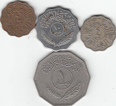 LOT OF 4 IRAQ COINS 4 , 10& ONE DINAR  Filis   1938, ,53, 81 COINS LOT # 2