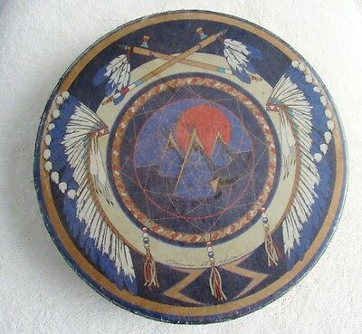 "Native American 11"" Tribal Drum Very Good Condition"