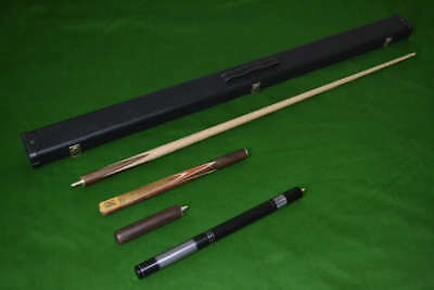 Brand New 3/4 Jointed Ash Snooker Cue + Case + Extensions