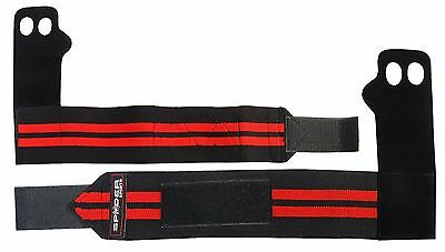 Spider Sports Leather Palm Grips with Elastic Wrist Wraps - a Pair