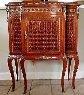 Vintage French Louis XV Style Marquetry Cabinet - Brass Ormolu Flourishes
