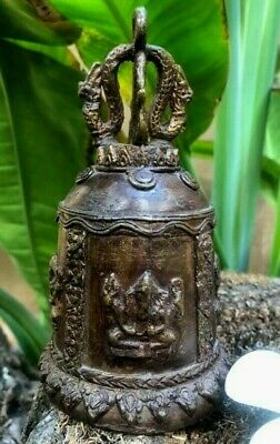 Buddha Temple Thai Bell Art Elephant Trunk Clapper Wind Chime Sound Indra Flower