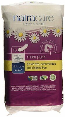 New Natracare Natural Feminine Night Time Maxi Pads Extra Long 10 Pads - Pack of