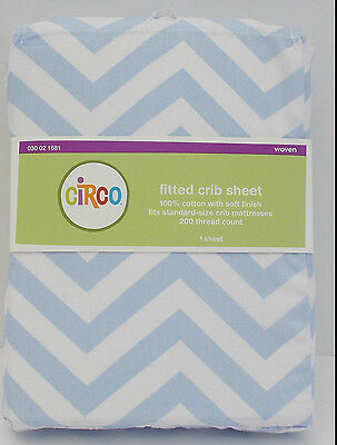 New Blue 100% Cotton Chevron FITTED SHEET Baby Crib OR Toddler Bed, deep Pocket