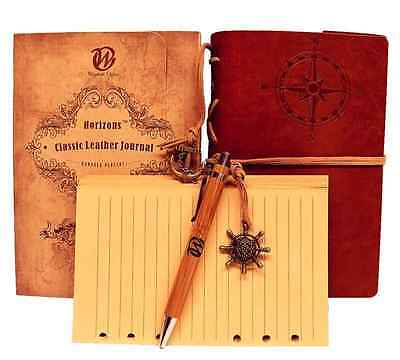 Classic Writing Journal Diary Notebook, Vintage Leather + Extra Paper Bamboo Pen