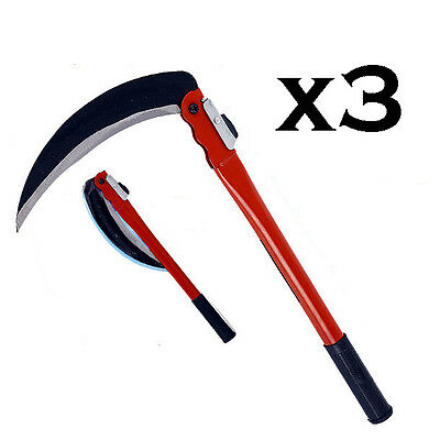 3 x Steel Grass Sickle Small Scythe Folding Handle Gardening Farming 233mm.
