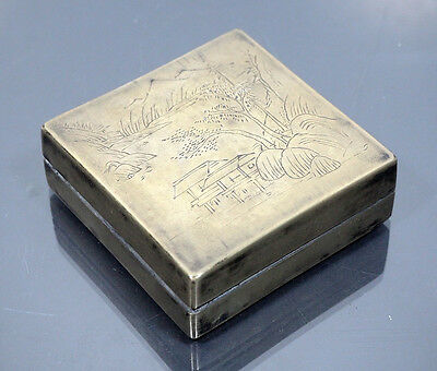 Antique Chinese Ink Box Inkstone & Calligraphy Landscape Screen