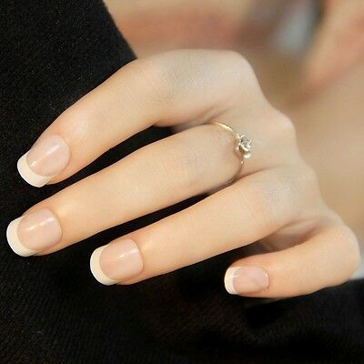 NEW 24pcs Manicure White Short French Style False Tips Fake Nails Stickers N373