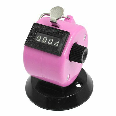 Golf Pitch 4 Digit Number Clicker Hand Held Tally Counter Black Pink AD