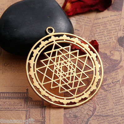 HX 1PC Gold Plated Hollowed Sri Yantra Pendant Necklace Jewelry 4.5x4cm