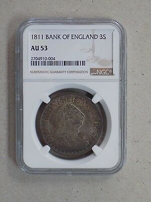 1811 Great Britain Bank Of England 3 Shilling Ngc Au53