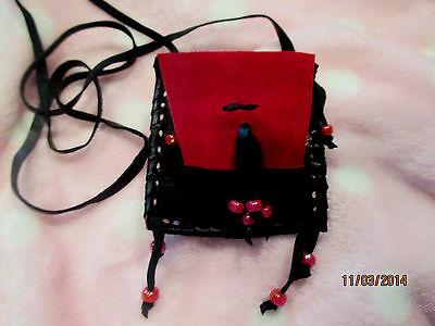 Handmade Red & Black Leather Neck Bag  Pouch Purse