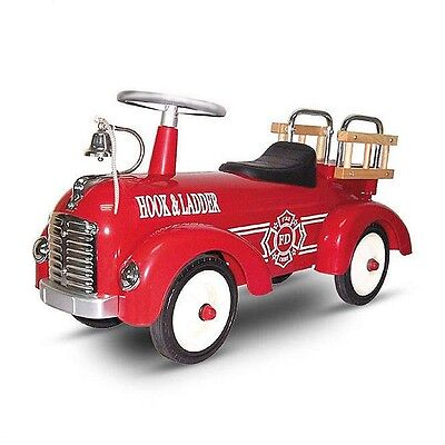 Classic Retro Ride On Steel Fire Engine Toy Car-Truck
