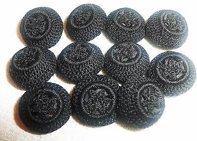 SET 11 Antique Black Fabric Buttons Lot ~ Crochet, Star in Ring 5/8""