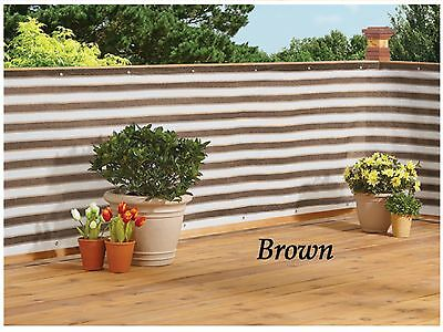 New Easy Install Privacy Deck Screen Fence Netting Yard Pool Brown White Stripe