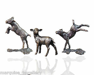 Three Little Lambs Bronze Sculptures - Limited Edition. Michael Simpson.