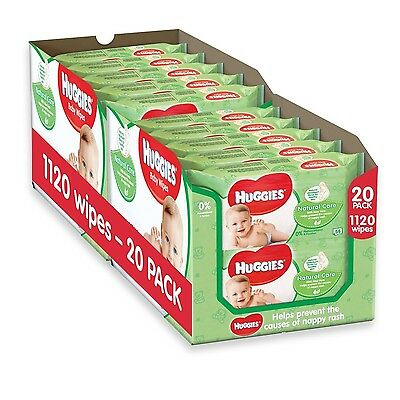 Huggies Natural Care Baby Wipes - 2 x 10 Packs of 56 Wipes Total 1120 Wipes NEW