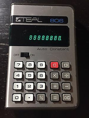 Vintage Teal 806 Calculator Tested Working Green Display With Case