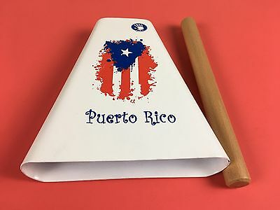 Hand Held Cowbell Painted With The Design Of The Puerto Rico Flag. ES-9 Type.
