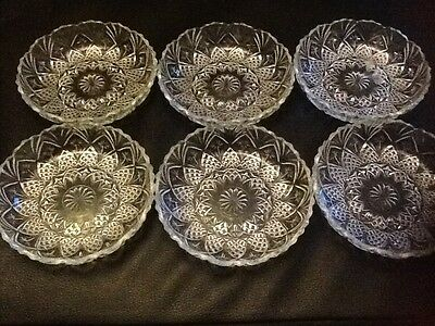 6 X Vintage Glass Serving Dish Platter Round Shape Bowls Desert Finger Bowl