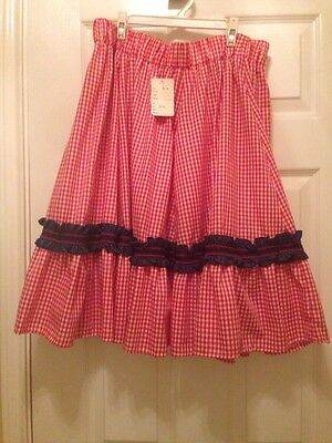 Square Dance Skirt- Size  Medium  in Red Plaid -NEW-