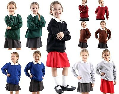 Girls Boys Kids Jumper Sweatshirt Crew tops Round/V- Neck  School Uniform fleece