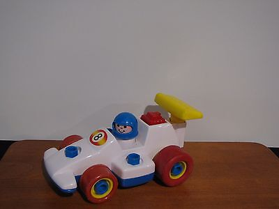 Fisher Price 1984 Race Car Pull Pack F1 Sports Car Driver & Yellow Spoiler #184