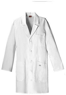 "Dickies 37"" Unisex Lab Coat 83404 DWHZ White Free Shipping"