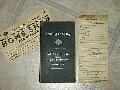 Vtg Reading Co. Railroad Operating Dept. Rules 1955 Safety Rules & Car Tickets
