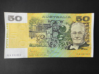 Australian - 1983/r508 -Johnston-Stone  $50-Dollar Paper Note- Vf+++ Semi Solid.