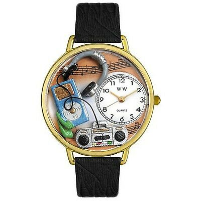 Whimsical Watches Music Lover Black Leather and Goldtone Unisex Quartz Watch ...