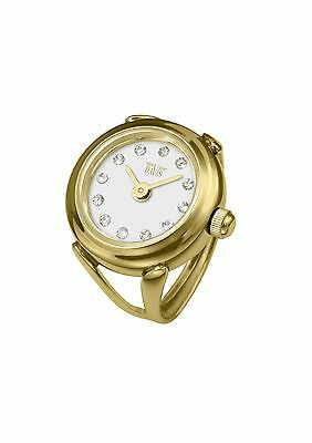 Davis 4174 - Womens Finger Ring Watch Yellow Gold White Dial Swarovski Crysta...