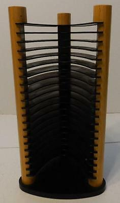 Tan And Black Plastic And Wood Table Top 20 Cd Tower Rack Holder Storage
