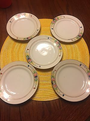 Group Of 5 Old Antique China Decorated Bread Plates Marked Made In Nippon
